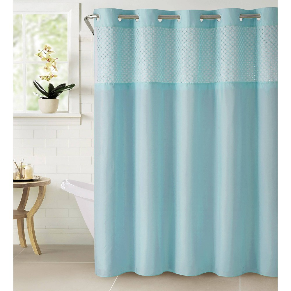 Image of Bahamas Shower Curtain with Liner Crystal Blue - Hookless