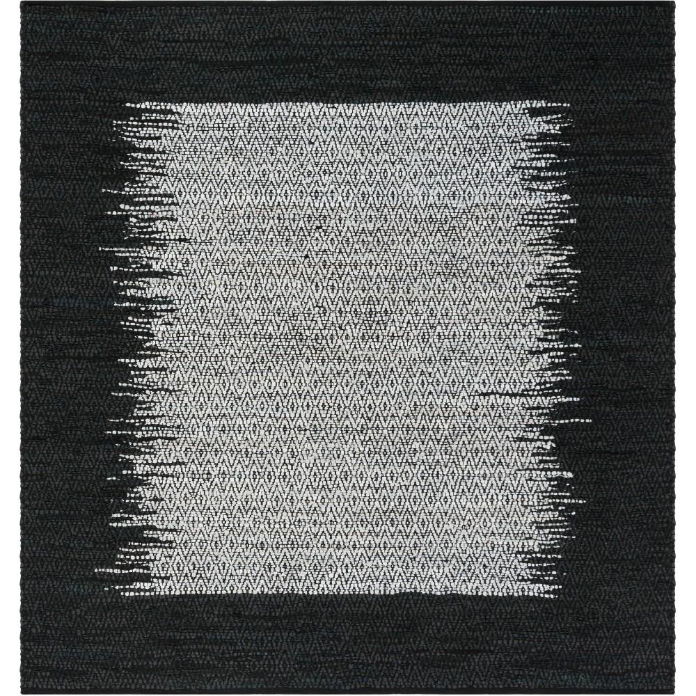 6'X6' Geometric Woven Square Area Rug Light Gray/Black - Safavieh