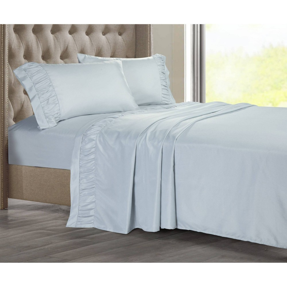 Image of Full Ruched Hem Solid Sheet Set Bluebell - Posh Home