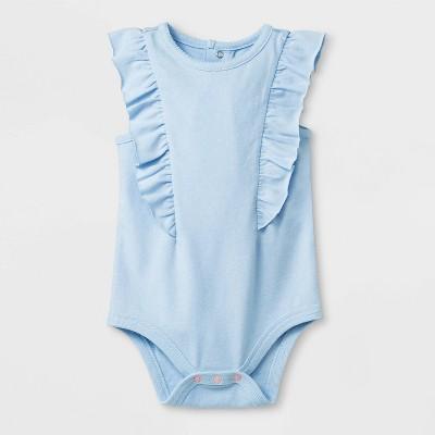 Baby Girls' Sleeveless Jersey Bodysuit with Self Fabric Ruffles - Cat & Jack™ Blue Newborn