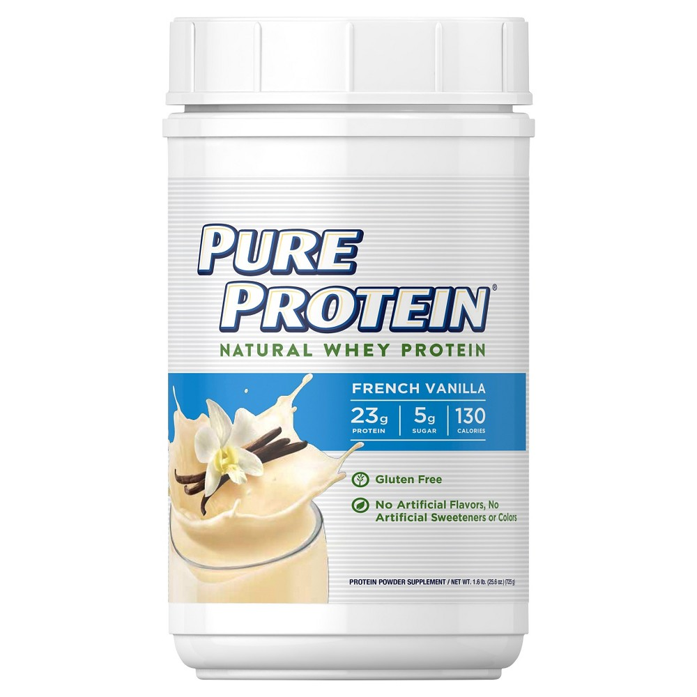 Pure Protein Natural Whey Protein Powder - French Vanilla - 25.6oz Delicious and convenient, Pure Protein French Vanilla Natural Whey Protein Powder helps you fuel your body to achieve your goals. Each serving provides gold-standard whey protein sources, including microfiltered whey protein isolate and ultrafiltered whey protein concentrate. Gender: Unisex. Age Group: Adult.
