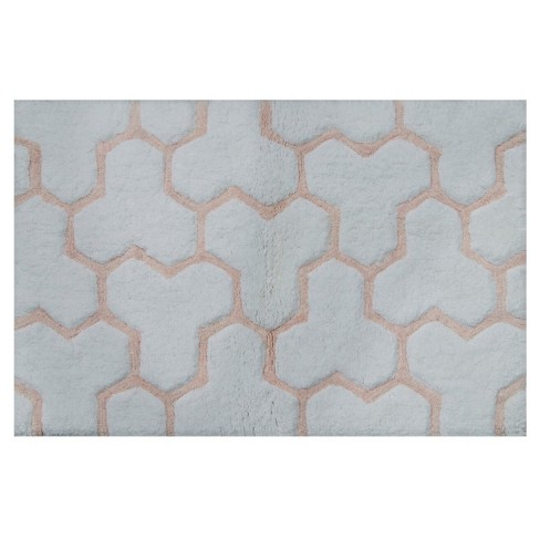 Sculpted Wave Bath Rug Gray Casual Pink Project 62