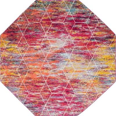 Geometric Trellis Frieze Rug Fuchsia - Unique Loom