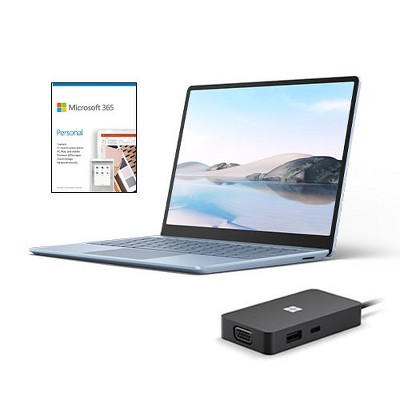 "Microsoft Surface Laptop Go 12.4"" Touchscreen Intel Core i5 8GB RAM 128GB SSD Ice Blue + Microsoft USB-C Travel Hub + Microsoft 365 Personal 1 Yr"