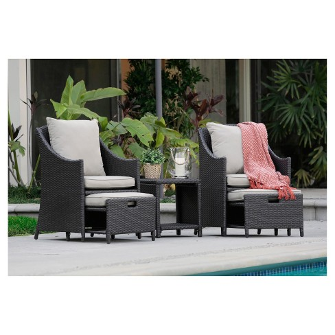 Laguna 5pc All-Weather Wicker Patio Conversation Set - Brown - Serta - image 1 of 4