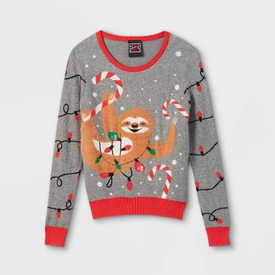 Kids' Sloth with Lights Ugly Pullover Sweater - Gray