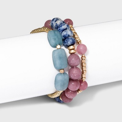 Semi-Precious Dyed Peach Moonstone and Sodalite Stones Stretch Bracelet Set 3pc - Universal Thread™ Pink