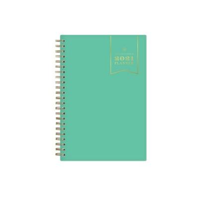 """2021 Planner 5"""" x 8"""" Weekly/Monthly Wirebound - Jade - Day Designer"""