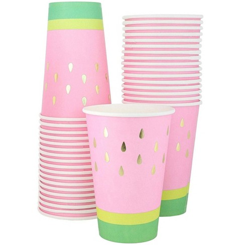 Blue Panda 50 Pack Watermelon Paper Cups with Gold Foil for Summer Party Supplies (10 oz) - image 1 of 3