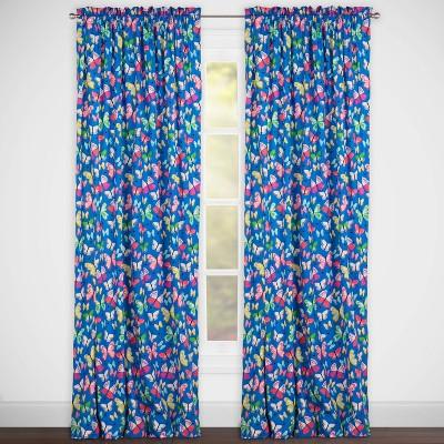 Brilliant Butterflies Rod Pocket Curtain Panel Blue - Highlights