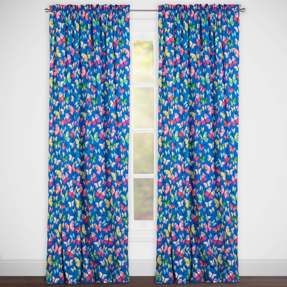 Image of Brilliant Butterflies Rod Pocket Curtain Panel Blue - Highlights