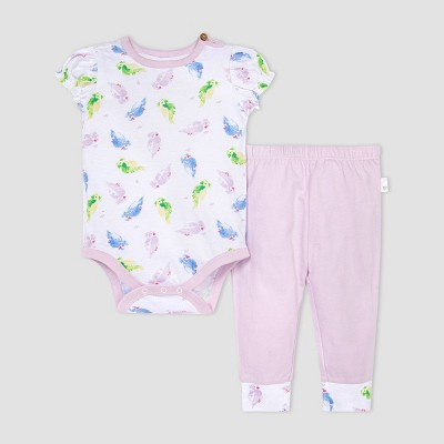 Burt's Bees Baby® Baby Boys' Pretty Parakeet Bodysuit and Pants Set - Purple