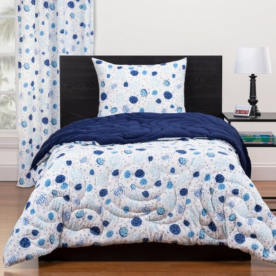 Twin Turtle Time Reversible Comforter Set Blue - Highlights