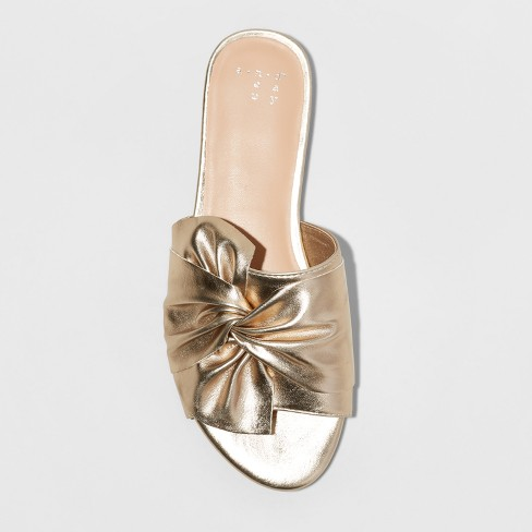 6c237bbd584 Women s Huntress Metallic Knotted Slide Sandals - A New Day™ Gold 9   Target