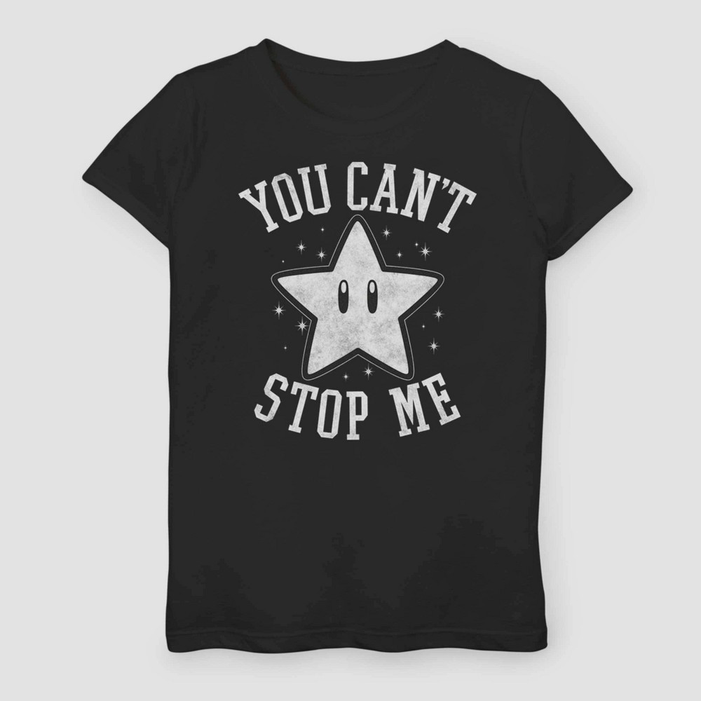 Image of Girls' Super Mario Bros Super Star You Can't Stop Me T-Shirt - Black XL, Girl's
