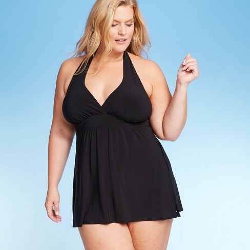 Women\'s Plus Size Halter Swim Dress - Aqua Green® Black
