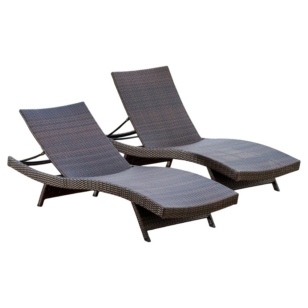 Toscana Set of 2 Wicker Patio Chaise Lounge - Brown - Christopher Knight Home