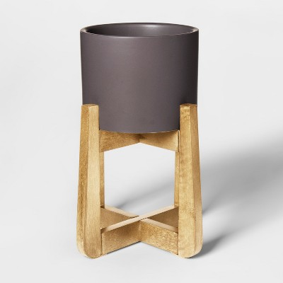 Wood & Stoneware Indoor Planter Small - Gray - Project 62™
