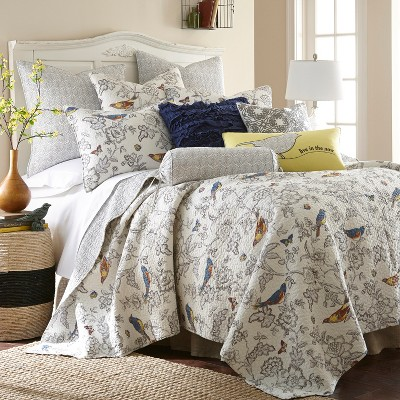Mockingbird Toile Quilt and Pillow Sham Set - Levtex Home