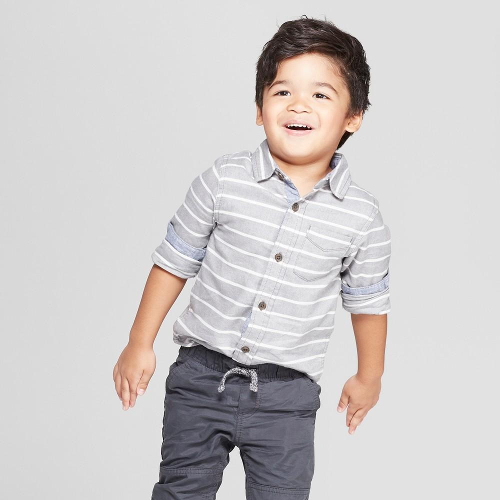 Toddler Boys' Long Sleeve Stripe Shirt - Cat & Jack Gray 4T