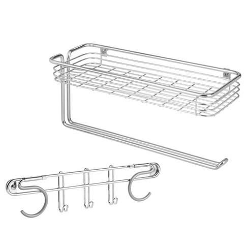 mDesign Wall Mount Metal Storage Organizers for Kitchen - 2 Piece Set - Chrome - image 1 of 4
