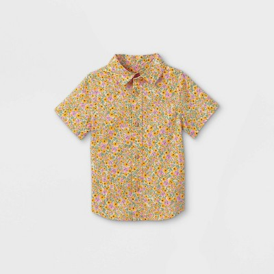 Toddler Boys' Floral Print Woven Short Sleeve Button-Down Shirt - Cat & Jack™ Yellow
