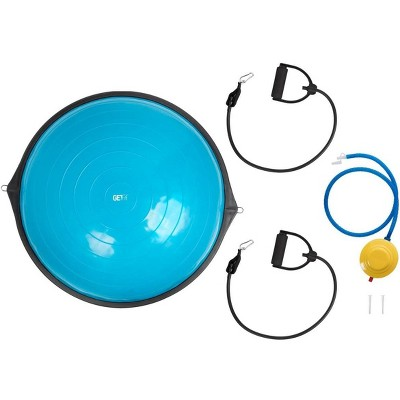 Monoprice GetFit Fitness Balance Trainer Ball w/ Anti-skid Base, Air Pump, & 3-Stage Resistance Bands for Workout, Exercise, Cardio, Strength Training
