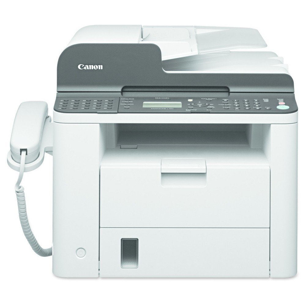 Canon Faxphone L190 Laser Fax Machine, Copy/Fax/Print - White (CNM6356B002) L190 laser fax machine offers quality results whether you are faxing, printing or copying. It functions in the place of three machines. With fast features such as 33.6 kbps faxing, 26 pages per minute printing and copying and a Quick First Print Time of just 5.8 seconds, you can keep your office productive throughout the day. You can keep a comprehensive address book with the 40 one-touch speed dials and 200 coded dials. Machine Functions: Copy; Fax; Print; Printer Type: Laser; Maximum Print Speed (Black): 26 ppm; Network Ready: No.