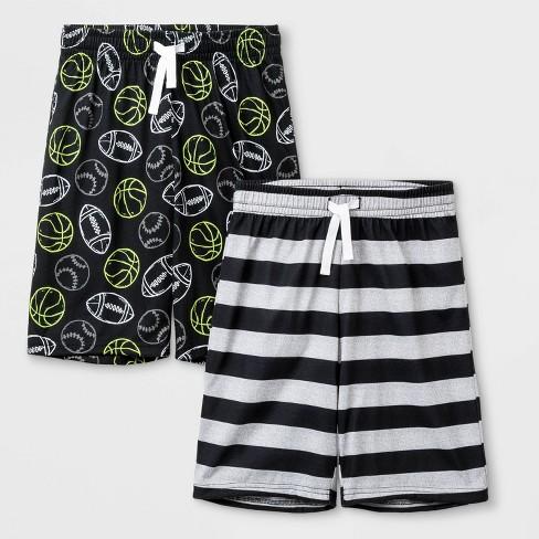 Boys' 2pk Striped Pajama Shorts - Cat & Jack™ Black - image 1 of 1