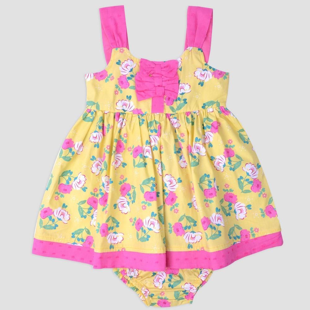 Baby Girls' Flower/Dot Poplin dress Nate & Annee Yellow/Pink 6-9M