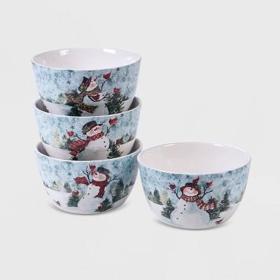 24oz 4pk Earthenware Watercolor Snowman Dessert Bowls White - Certified International