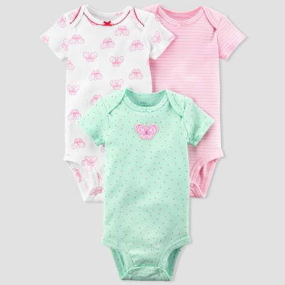 Baby Girls' 3pk Ladybug Bodysuit Set - little planet™ organic by carter's® Mint Floral 3M