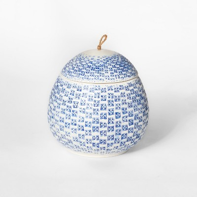 7.8  x 7.7  Decorative Block Print Canister White/Blue - Threshold™