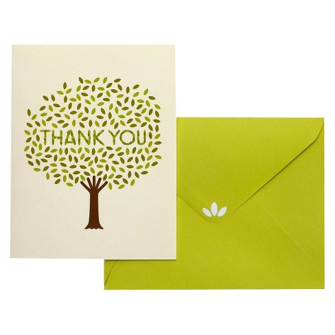 10ct Caring Tree Thank You Cards - Green Inspired - image 1 of 1
