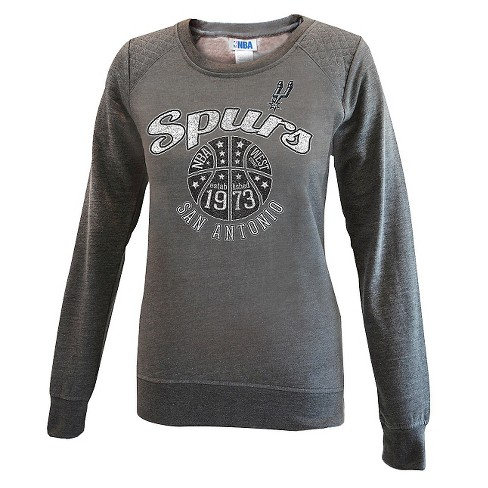 San Antonio Spurs Women's Gray Quilted Shoulder Sweatshirt L - image 1 of 2