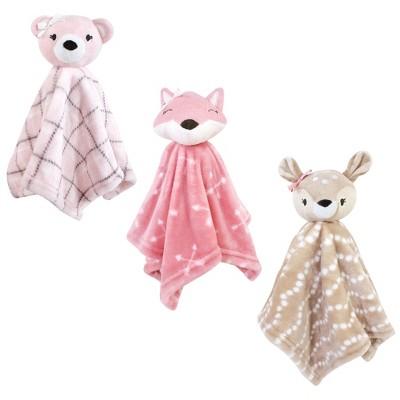 Hudson Baby Infant Girl Animal Face Security Blanket, Woodland, One Size
