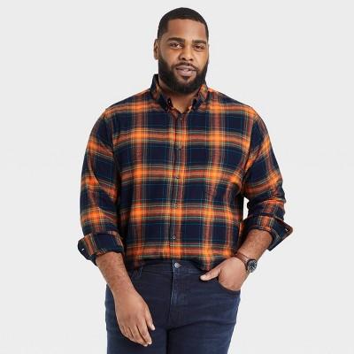 Men's Standard Fit Plaid Lightweight Flannel Long Sleeve Button-Down Shirt - Goodfellow & Co™