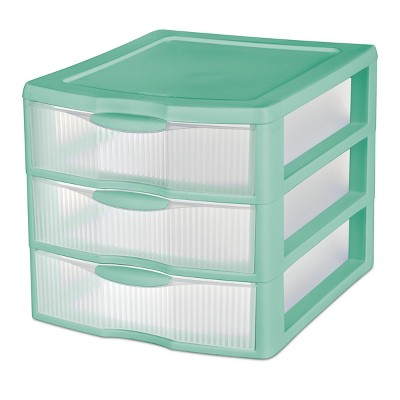 Countertop Unit 3 Drawer Medium Jade Green with Clear Drawers - Room Essentials™