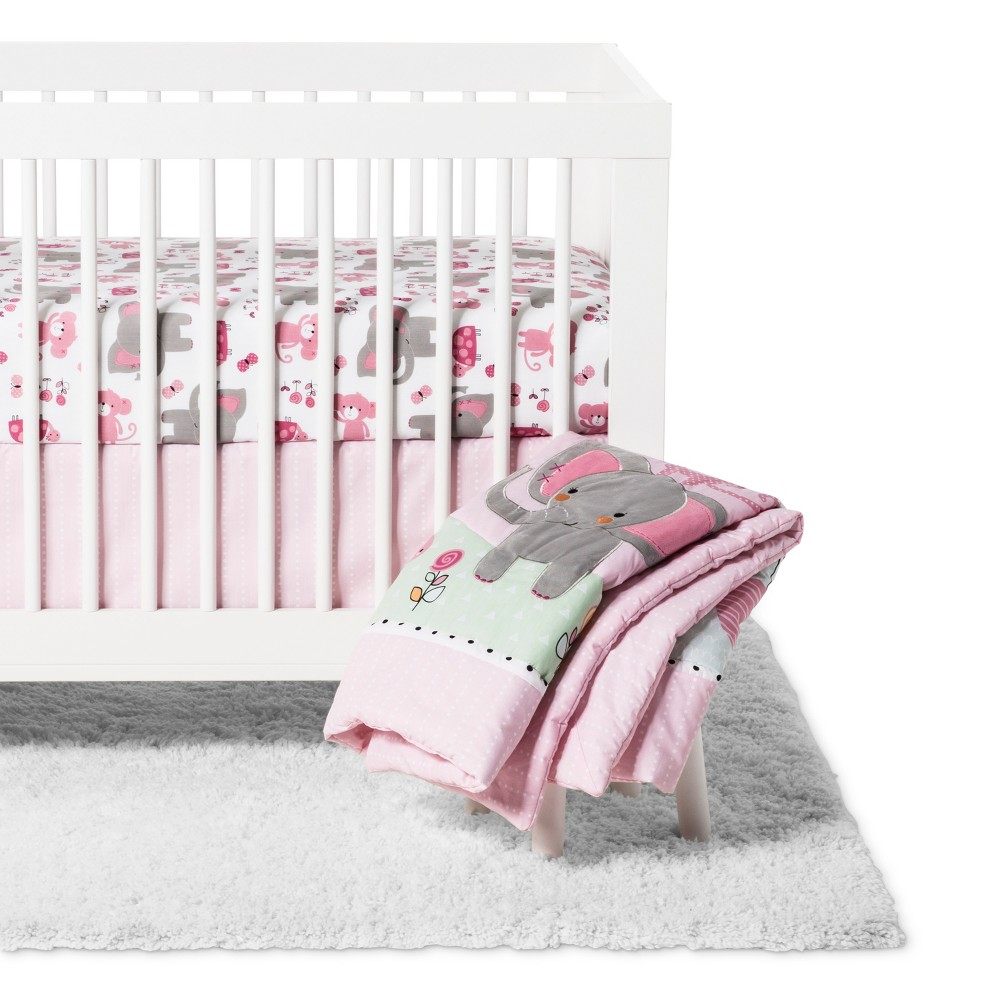 Image of Bedtime Originals 3pc Twinkle Toes Crib Bedding Set - Pink