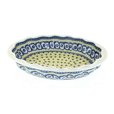 Blue Rose Polish Pottery Saffron Scallop Baking Dish