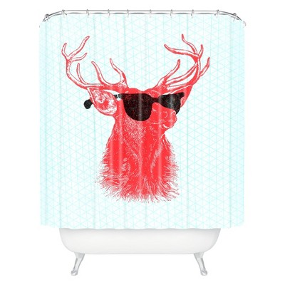 Young Buck Shower Curtain Red - Deny Designs