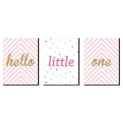 Big Dot of Happiness Hello Little One - Pink and Gold - Baby Girl Nursery Wall Art & Kids Room Decor - Gift Ideas - 7.5 x 10 inches - Set of 3 Prints