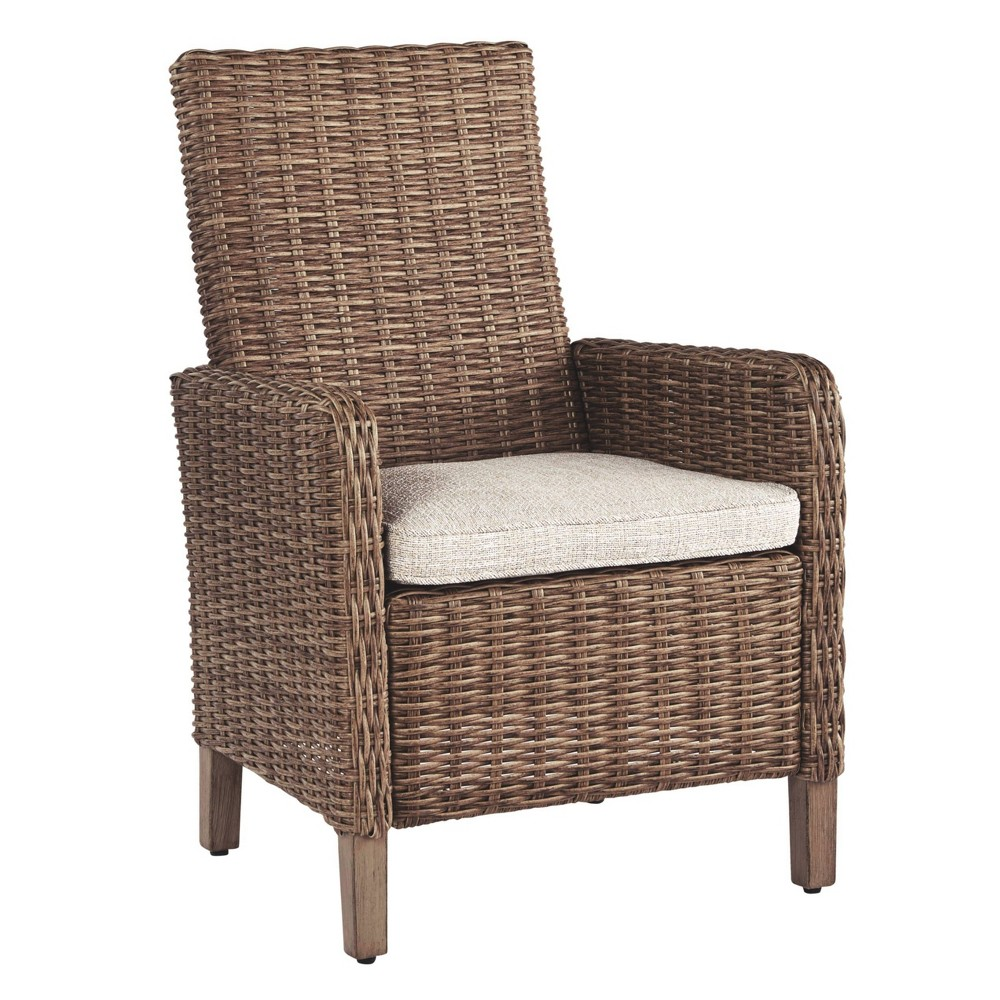 Image of Beachcroft Arm Chair with Cushions - Beige - Outdoor by Ashley