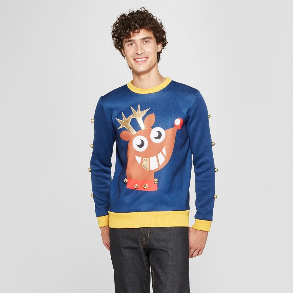 Men's Big & Tall Funky Rudolph Long Sleeve Sweatshirt - Navy 3XB, Blue