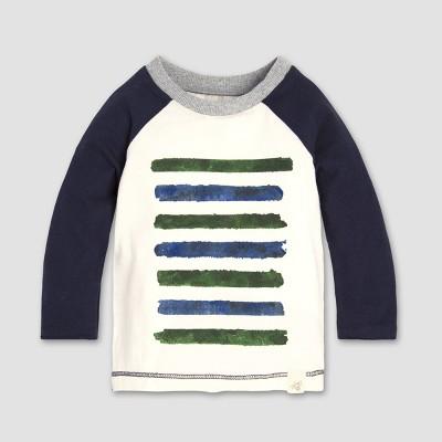 Burt's Bees Baby Boys' Two Tone Stripe Raglan Long Sleeve Shirt - Midnight 0-3M