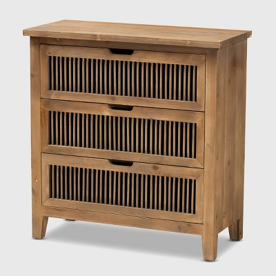 Clement 3 Drawer Wood Spindle Chest Brown - Baxton Studio