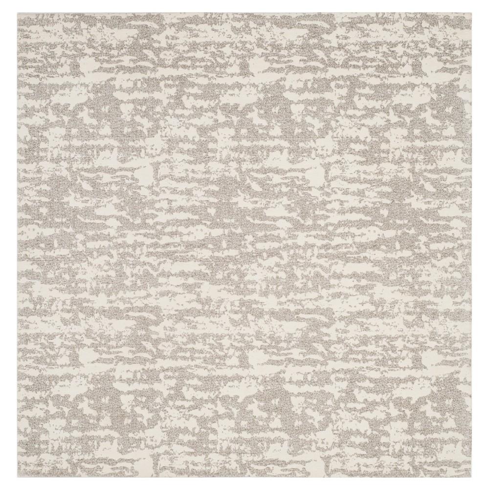 Light Gray/Ivory Spacedye Design Woven Square Area Rug 6'X6' - Safavieh