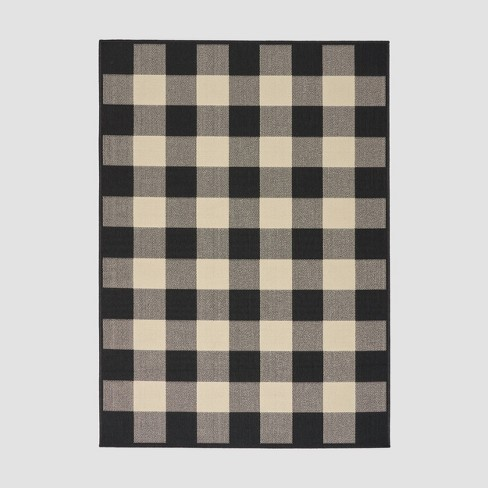 Crossroads Check Outdoor Rug Black/Ivory - Christopher Knight Home - image 1 of 5