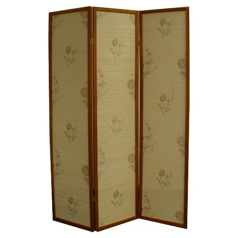 3 Panel Room Divider Floral Brown - Ore International - image 1 of 1