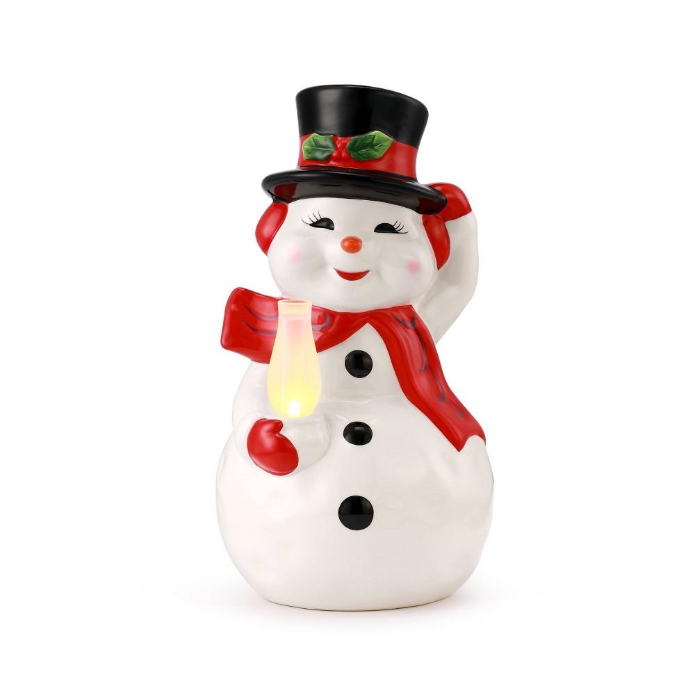 Image of Porcelain Snowman Decorative Figurine - Mr. Christmas